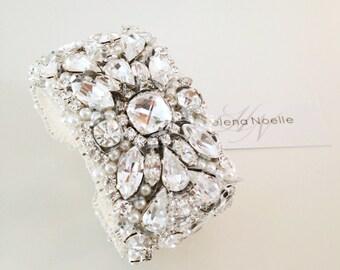 Crystal Bridal Cuff- Crystal and Pearl Bracelet- Rhinestone and Pearl Bridal Statement Bracelet