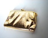 Vintage Gold Wallet Lots of Compartments 50s 60s Small Clutch Purse - on sale
