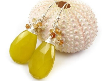 Yellow gemstone earring ,sterling silver jewelry, dangle earring, mustard jewelry