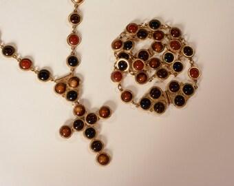 Vintage Accessocraft Belt Necklace Brooch Set - 1970s Cross Pendant - Boho Fashions