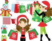 Christmas Shopping Spree Brunette Cute Digital Clipart, Commercial Use OK, Woman Shopping Clipart, Shopping Graphics