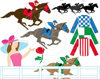 Kentucky Derby Cute Digital Clip Art - Commercial Use OK - Racing Horses Clipart, Horse Race Graphics, Derby Party