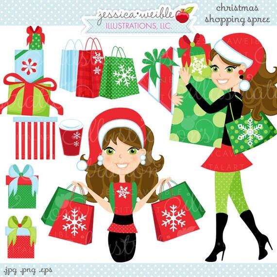 Christmas Shopping Spree Brunette Cute Digital By