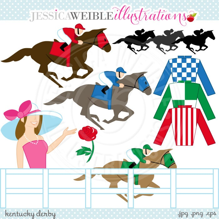 Clip Art Kentucky Derby Clip Art kentucky derby cute digital clip art by jwillustrations on etsy