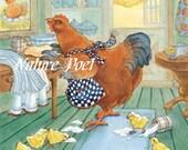 The Little Red Hen Reproduction Storybook Illustration Downloadable, Printable, Digital Art Image Instant Download