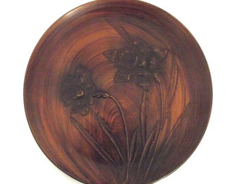 Vintage Round Plastic Serving Tray or Platter in Brown with Daffodil Design