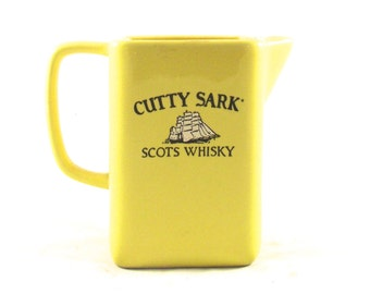 Sale 50% Off, Cutty Sark Pitcher, Vintage Yellow Ceramic Whisky Decanter, Guernavaca, Mexico