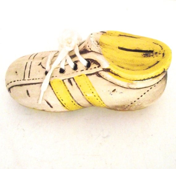 Vintage Sneaker or Tennis Shoe Shaped Ceramic Bank in Yellow and Tan