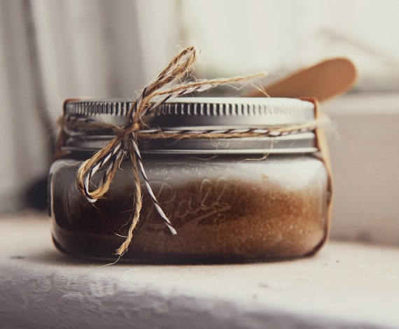 Coffee & Brown Sugar Scrub 8oz in Ball Jar   - w/ mushroom extracts | Luxury Scrub, Exfoliating Scrub,  Bridesmaid Gift, Coffee lover