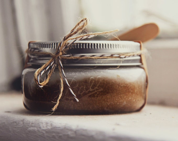 Coffee & Brown Sugar Scrub 8oz in Ball Jar - w/ mushroom extracts | Luxury Scrub, Exfoliating Scrub, Wedding gift, Bridesmaid Gift, Decor