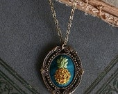 Pineapple- hand embroidered necklace, fruit, summer, bright, teal, yellow