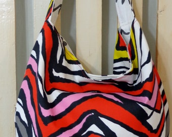 IKEA, Large Slouchy, Hobo, Spring Summer Purse, Shoulder BAG, Black, Red, Yellow, White Chevron