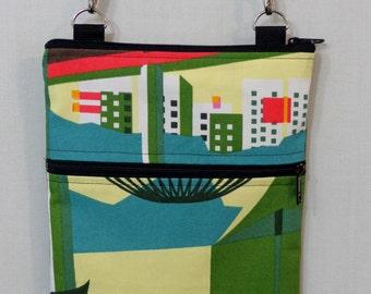 Cross Body BAG, Small Shoulder Purse, Sling BAG, Travel Purse, IKEA,  Zippered Purse, Green, Yellow Print