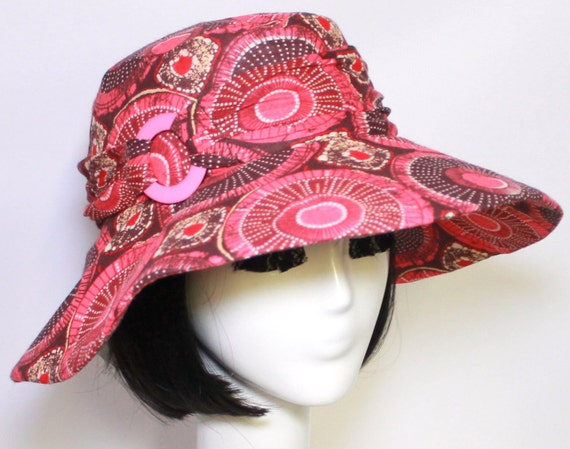 SALE Wide Brim Hat-Hot Pink Cotton- Scarf