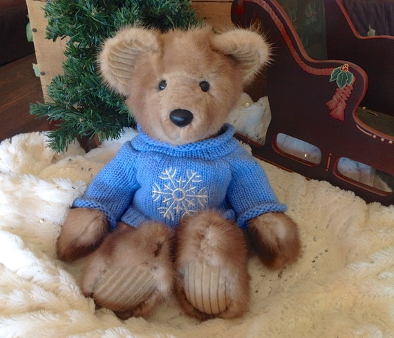 Corduroy, A Real Fur Teddy Bear - Handmade from genuine mink fur