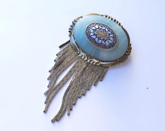 Unusual Blue Stone Brooch Vintage with Chains
