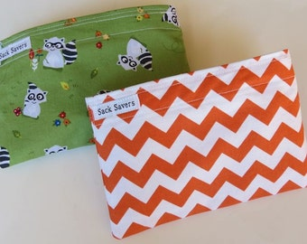 Reusable Snack Bag Set of Two Eco Friendly Green Raccoon Orange Chevron