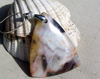 Crystal Gemstone Amazonite Triangular Pendant with Silver Plated Chain, Chakra Pendant, Virgo Pendant, Geometric Pendant, Brown Pendant
