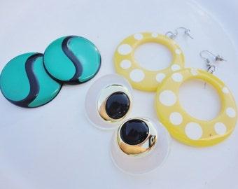 bundle of funky earrings fun colorful enamel and plastic vintage jewelry