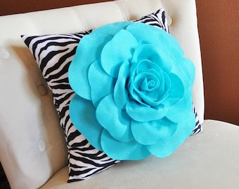 Light Turquoise Rose on Zebra Pillow 16x16