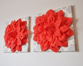 TWO Large Coral Flower on Neutral Gray Tarika Wall Hanging -Flower Wall Decor-