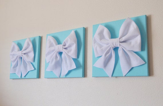 Aqua Blue Home Decor Set Of Three White Bows On By Bedbuggs - cheer bow wall decoration designs