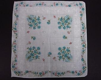 Vintage Handkerchief light blue floral (vh113)