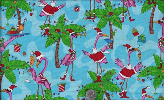 Pink Flamingo Christmas Party I Spy Santa Hat Drinks Presents Fabric By the Fat Quarter