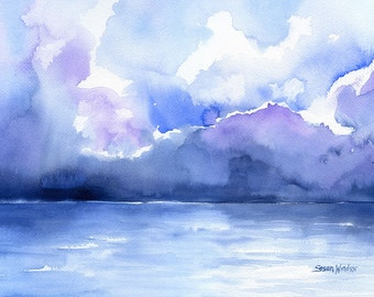 Abstract Ocean Watercolor Painting - 14 x 11 - Giclee Print - Abstract Painting