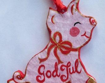 Swedish Christmas Pig  Handcrafted Papier Mache Ornament