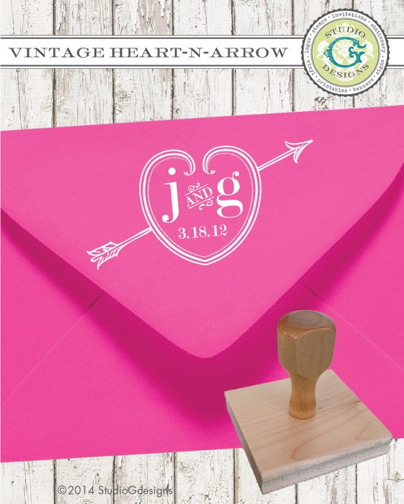 VINTAGE HEART N ARROW  --  1 x 2 inches Personalized Wedding Couple Initials Established Date Rubber Stamp