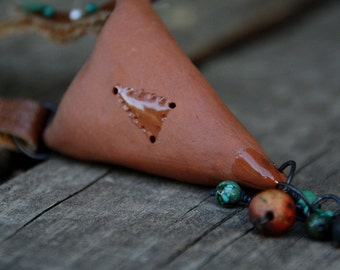 SALE Handsculpted totem ceramic neckpiece - one of a kind
