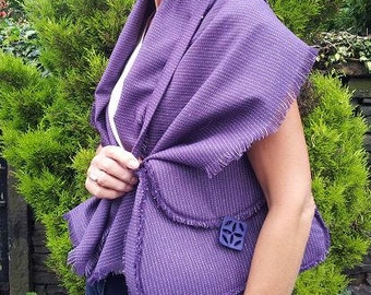 purple pinstipe wool blend bag and matching shawl