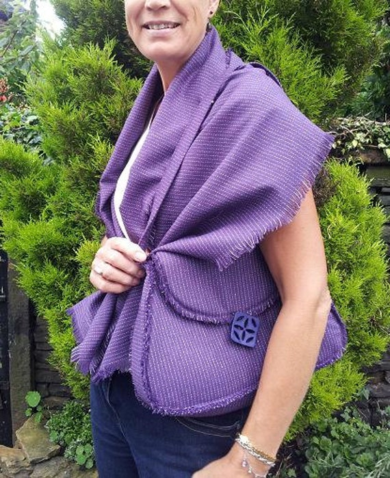 purple pinstipe wool blend bag and matching shawl