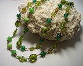 Green necklace, lariat, wire wrapped, brass, vintage beads, green glass, spring green, rope necklace, two strand necklace, recycled
