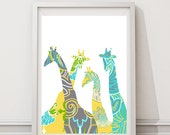 Modern colorful giraffe pattern - bright colors- turquoise yellow grey-Digital Files with Instant Download-Home Decor-8x10  File SALE!!!