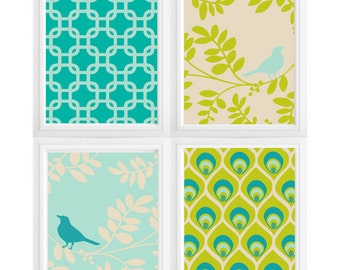bird on a branch modern wall decor pattern-bright colors- Set of 4