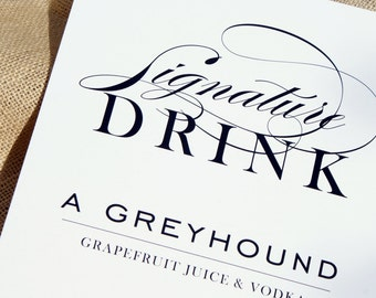 Wedding Day Signature Drink Sign - 8x10 or 5x7 - Custom Colors available
