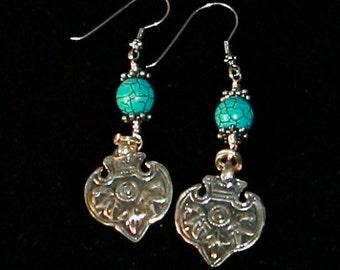 Turquoise & Silver Shields Dangle Earrings