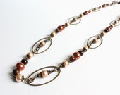 Bronze Oval Hoops with Glass Pearls Long Necklace
