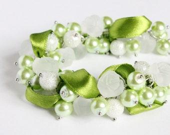 Lime Green White Rose Cluster Bracelet and Earrings Set