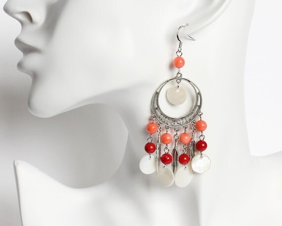 Bohemian Style Red Coral and Shell Flakes Long Earrings