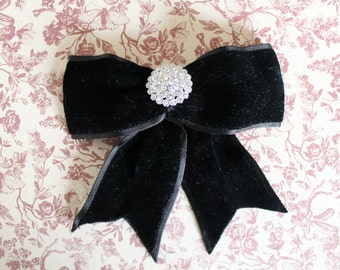 Rhinestone Brooch with Velvet Bow / Black velvet Brooch / Vintage velvet bow