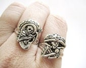 Sugar Skull Jewelry - Silver Sugar Skull Ring - Day of The Dead Jewelry - Dia De Los Muertos Jewelry