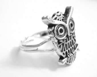Modern Owl Ring - Silver Owl Jewelry - Womens Ring - Adjustable Ring