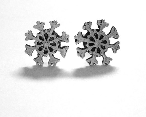 Snowflake Studs - Holiday Earrings - Stocking Stuffer For Women Gifts Under 25 - Christmas Jewelry - Sterling Silver Snowflake Earrings -