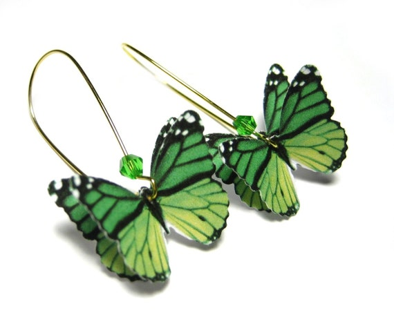 Recycled Earrings - Upcycled Recycled Repurposed Jewelry - Eco Friednly Earrings Ecofriendly Jewelry Emerald Green Paper Butterfly Fashion