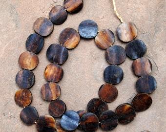 Ghana Bone Beads: Brown Round  (20mm)