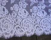 "1.25 Yards of 46"" Wide Antique Style Lace White Lace Edwardian Style Lace Wedding Lace Bridal Lace Fabric Eyelash Lace Made in USA JM34"
