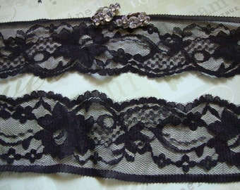 """2 Yards of 2"""" Wide Chocolate Brown Lace Stretch Lace Scalloped Lace Lingerie Lace Headband Hair Accessories ST"""